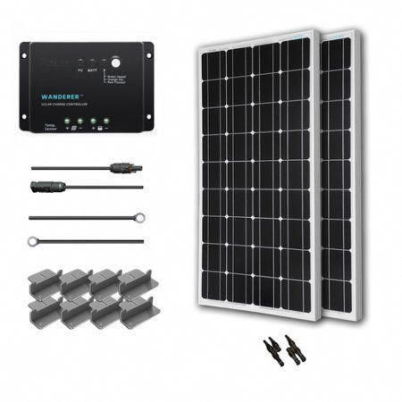 Renogy 200w 12v Solar Panel Monocrystalline Off Grid Starter Kit With 30a Wanderer Charger Controller Solarp In 2020 Solar Panels Solar Panel Kits Solar Energy Panels