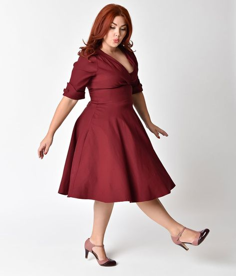 fc35774b38 Unique Vintage Plus Size 1950s Burgundy Red Delores Swing Dress with S