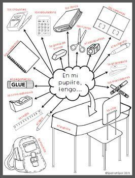 What Is In Your Desk Printable Picture With Spanish Labels Elementary Spanish Lessons Learning Spanish Spanish Classroom