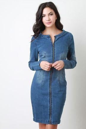 Kot Elbise Modelleri Yuvarlak Yaka Diz Ustu Onden Fermuarli Kot Elbiseler Elbise Modelleri Elbise