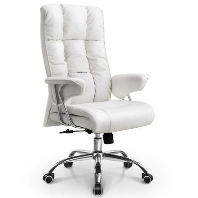 Symple Stuff Soliz Executive Chair Upholstery Color White Office Chair Leather Desk Executive Office Chairs
