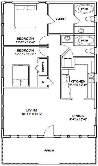 28x40 House 28x40h1c 1 120 Sq Ft Excellent Floor Plans Small House Floor Plans Tiny House Floor Plans Tiny House Plans