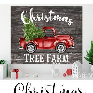 Merry Christmas Trees Red Vintage Truck Wood Pallet Winter Etsy Christmas Wall Art Printables Vintage Truck Christmas Christmas Wall Art