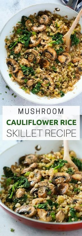 """Mushroom Cauliflower """"Rice"""" Skillet"""