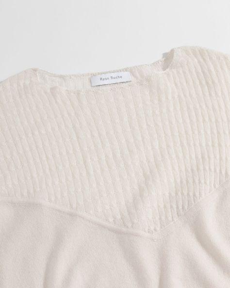Ryan Roche Cable Cashmere V-Sweater w Ballon Sleeve in Ivory  f3e0e5b72