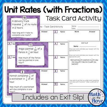 Unit Rates With Complex Fractions Task Card Activity 7 Rp 1 In 2021 Fraction Word Problems Task Card Activities Unit Rate Worksheets on unit rates