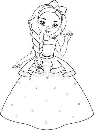 Baixar Pequena Princesa Coloracao Pagina Ilustracao De Stock