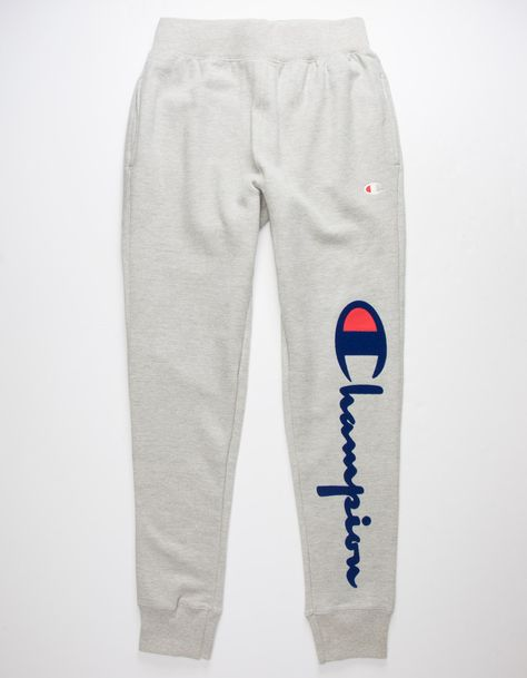 "Soft sweatpants feature ""C"" and Champion script logo on left side. Patch pocket on back right. Ribbed knit elastic waistline and cuffs. Fleece-lined. Cute Nike Outfits, Swag Outfits For Girls, Cute Lazy Outfits, Cute Outfits For School, Teenager Outfits, Sporty Outfits, Cute Sweatpants Outfit, Sweatpants Style, Mens Sweatpants"