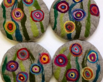 Handfelted Seat Cushion with big flowers, light grey
