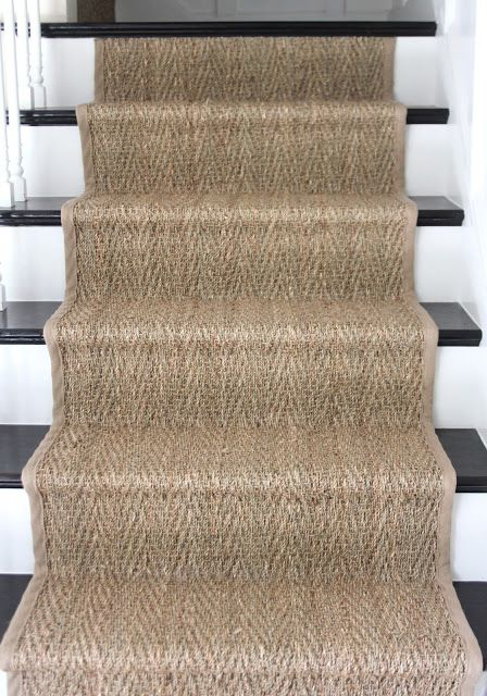 sisal stair runner on basement stairs Stair Runner Carpet, Decor, Foyer Decorating, White Stairs, Banisters, House Styles, Coastal Living Rooms, House, Wood Stairs