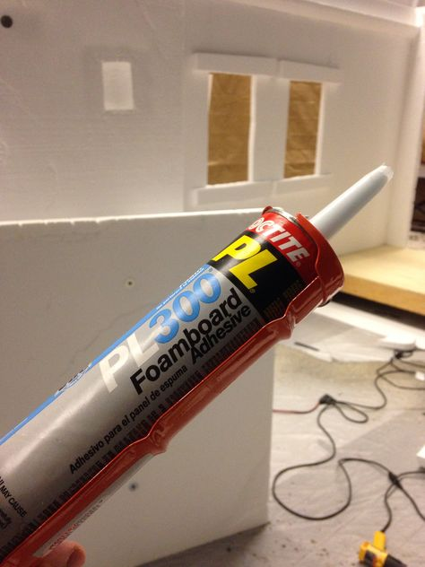 This stuff is indispensable when carving foam sets. My secret weapon. Loctite foam board adhesive.