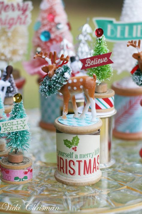 The title of this post pretty much sums it up. lol I was looking at all these containers of little bits of Christmas good. Vintage Christmas Crafts, Retro Christmas Decorations, Christmas Ornaments To Make, Merry Little Christmas, Homemade Christmas, Christmas Projects, Winter Christmas, Holiday Crafts, Christmas Holidays