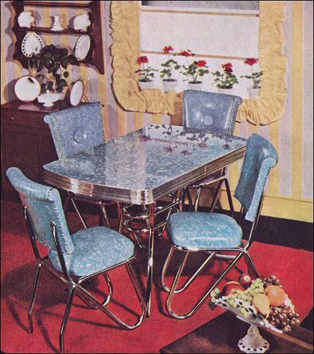 1950 Dinette Set #vintage #blue #kitchen #table #chairs