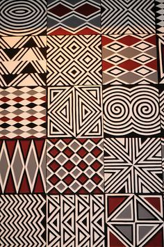 Fabric Patterns Imigongo style artwork at Nyungwe Forest Lodge, Rwanda - Decorative pattern at Nyungwe Forest Lodge
