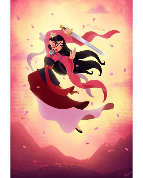 🌸Mulan🌸 I really wanted to redo a Mulan piece I did in January because I felt that it was super boring lol it didn't capture what I felt like I wanted it to (her badass qualities, a dynamic pose, bold...