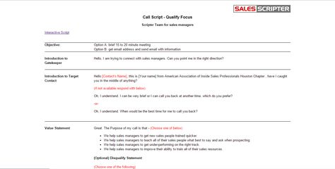 How To Structure A Sales Call Template Templates Script Cold