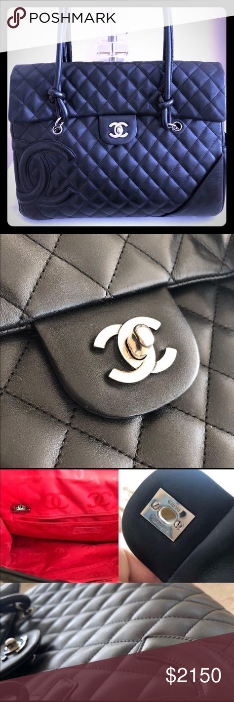 0a34fcc1b7931a CHANEL BLACK CAMBON LARGE FLAP TOTE The Chanel Ligne Cambon Flap bag  features soft lambskin with