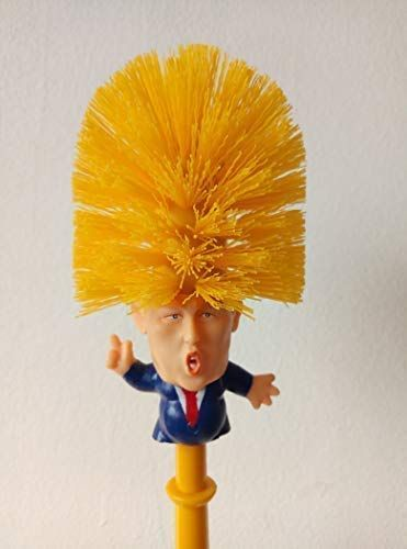 Funny Donald Trump Again Novelty Toy Toilet Brush Holder Set Make Toilet