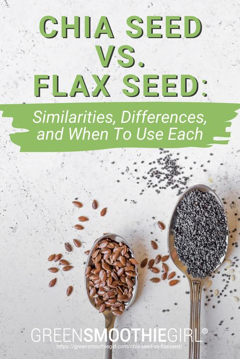 health A guide on chia seed vs. flax seed in nutrients, uses, and when youll want to choose one over the other. Flax Seed Drink, Chia Vs Flax Seed, Flax Seed Cleanse, Smoothies With Flax Seed, Chia Flax Seed Recipes, Chia Seed Diet, Flax Seed Recipes Breakfast, Recipes With Flaxseed, Chi Seed Recipes