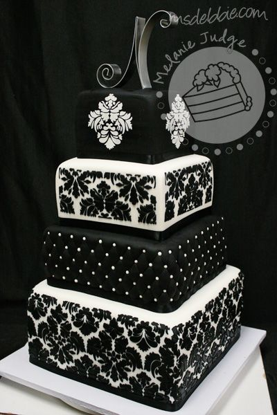Wedding Cakes That Are Black | ... Black Wedding Cakes Damask Black & White Wedding Cake – Wedding