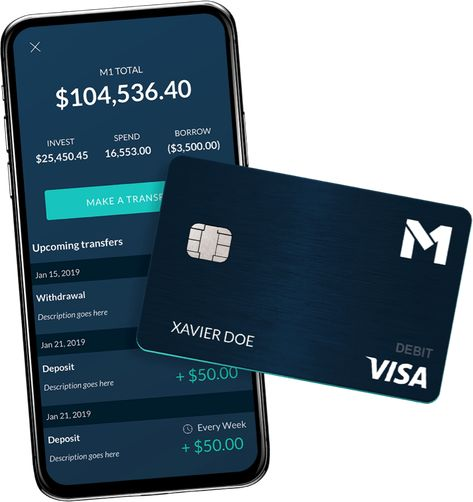 M1 mobile app shows interface for managing your debit card