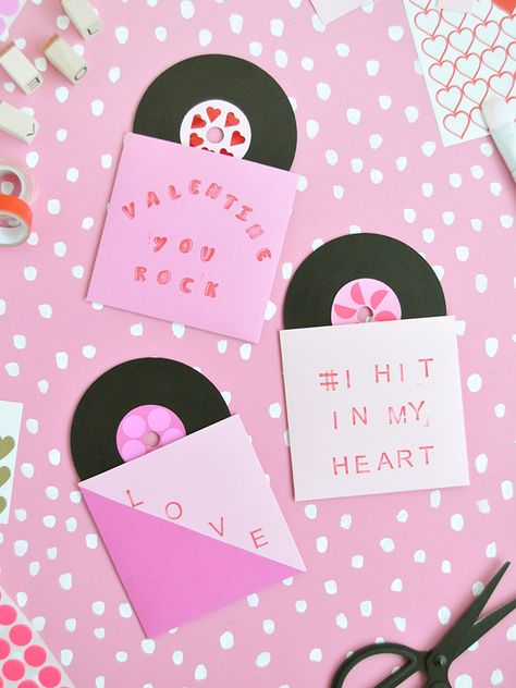 Make these painted record Valentines using old cds! Get the full instructions in. Valentines Gifts For Her, Valentines Day Party, Valentine Day Crafts, Be My Valentine, Creative Gift Wrapping, Valentine's Day Diy, Handmade Crafts, Bffs, Crafty