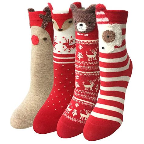122bbb88e5a72 LOTUYACY Womens Girls Cute Animal Casual Socks Comfort Funny Cotton Crew  Socks 4 Or 5 Pack (Red set)