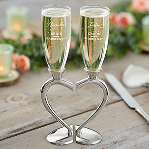 Connected Hearts Personalized Wedding Flute Set Wedding Flutes Personalized Champagne Flutes Wedding Contemporary Wedding Gifts