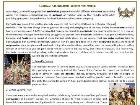 Carnival Celebrations Around the World - Reading Comprehension Worksheet