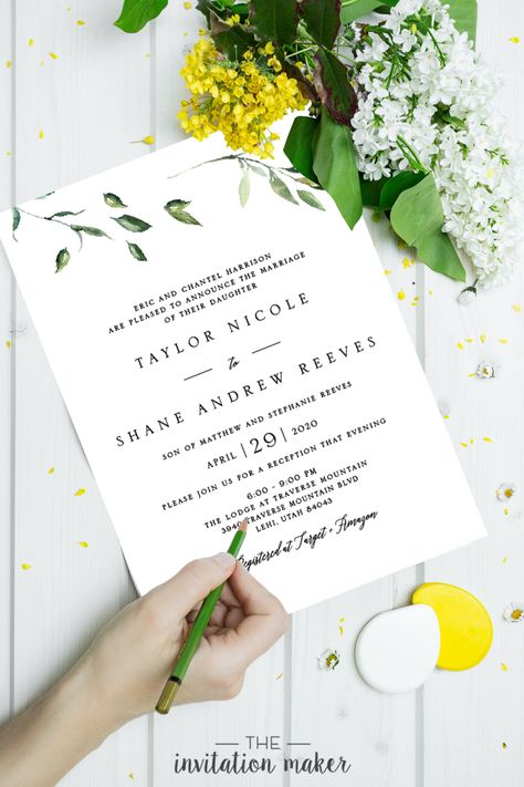 This wedding invitation is styled with a floral and greenery design. It is the perfect invitation for spring weddings, outdoor weddings, and greenery weddings. The design is elegant, minimalistic, and sophisticated.