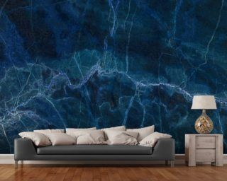 Dark Blue Marble Mural Wallpaper Wallpaper Wall Murals Blue