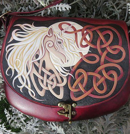 Celtic Unicorn Tooled Leather Bag Tooled Leather Bag Bags