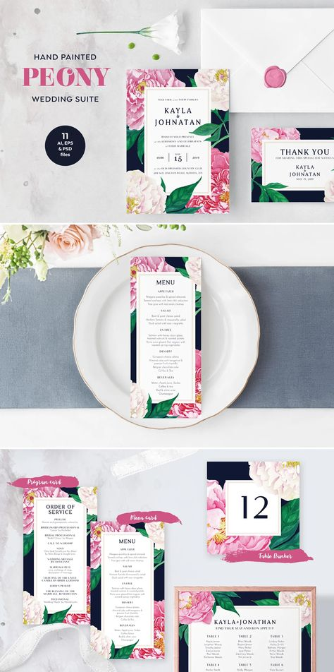 PEONY Watercolor Wedding Suite Template PSD, EPS, AI