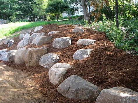 Don't hire a landscaper to build a boulder wall when boulder outcroppings will d. - Don't hire a landscaper to build a boulder wall when boulder outcroppings will do. Sloped Backyard Landscaping, Landscaping With Boulders, Landscaping On A Hill, Landscaping Tips, Steep Hillside Landscaping, Landscaping With Large Rocks, Terraced Landscaping, Natural Landscaping, Landscaping Retaining Walls