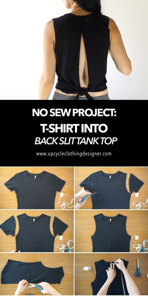 When it comes to cutting up a t-shirt, a tank top is fairly straightforward to Ways To Cut Shirts, Diy Cut Shirts, Umgestaltete Shirts, T Shirt Diy, Diy Clothes Life Hacks, Clothing Hacks, Clothes Crafts, Shirt Into Tank Top, Cut Up T Shirt