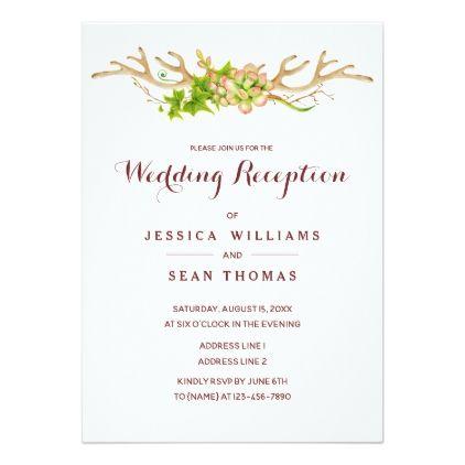 Rustic Antlers Wildflowers Wedding Reception Card