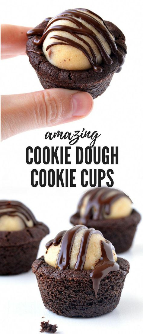 Chocolate cookie cups stuffed with chocolate chip cookie dough and drizzle with chocolate! The ultimate cookie dough dessert! Recipe from sweetestmenu.com #chocolate #cookiedough #cookies #choclatecookies