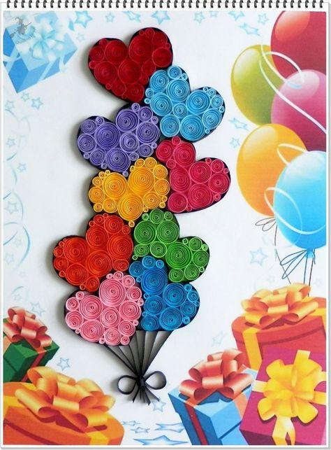 Luftballons für den Kindertag. - #QuillingPatterns #QuillingSnowflakes #QuillingTecniche