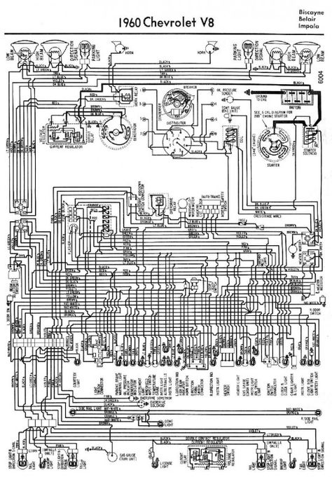 Electrical Wiring Diagram For 1960 Chevrolet V8 Biscayne Belair And Impala Chevy Impala Impala Electrical Wiring Diagram