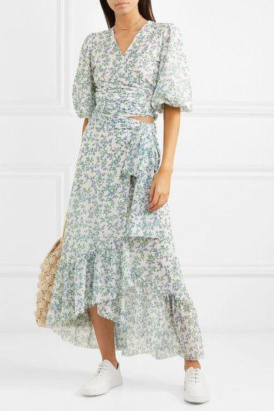 Sky Blue Tilden Floral Print Mesh Wrap Skirt Ganni Clothes For Women Wrap Skirt Womens Skirt