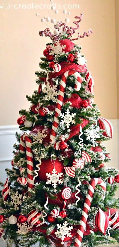 Candy Cane Christmas Decorations Amusing 12 Christmas Tree Decorating Ideas  Christmas Tree Candy Canes Design Ideas
