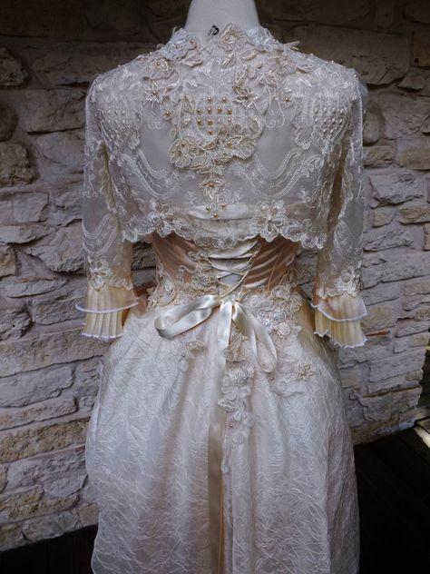 Handmade Peach Cream Victorian Wedding Lace Wedding by Arabescque