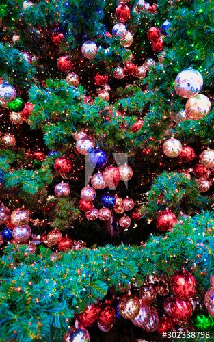 European Christmas Ads 2020 Fragment of Decorated X mas Tree at Christmas market Berlin in