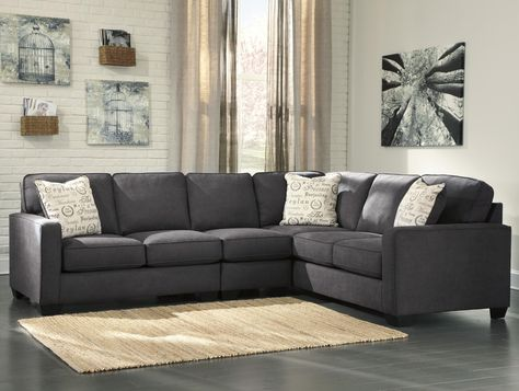 Alenya - Charcoal 3-Piece Sectional with Left Loveseat by Signature Design by Ashley