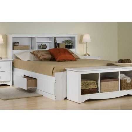 Platform Storage Bed W Bookcase Headboard Bed Size Full Color