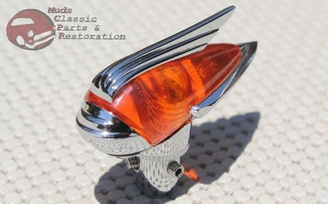 Classic Vintage Rod Antique Car Truck Chrome Red Antenna Topper