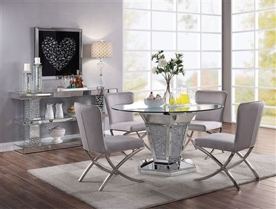 Noralie 5 Piece Round Table Dining Room Set In Faux Diamonds