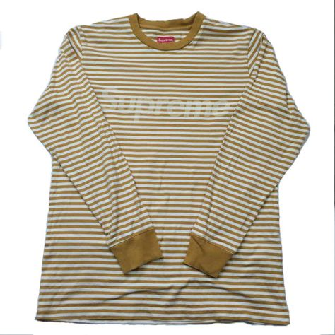 Supreme striped long sleeve • Mustard colour way • Size M