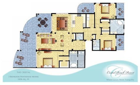 THE CRISTAL 3 Bedroom Penthouse Model         3,836 sq . ft.      Where Luxury Meets Tranquility