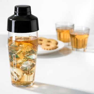 Nappera Shaker Clear Glass Black Ikea Drinking Accessories Clear Glass Glass